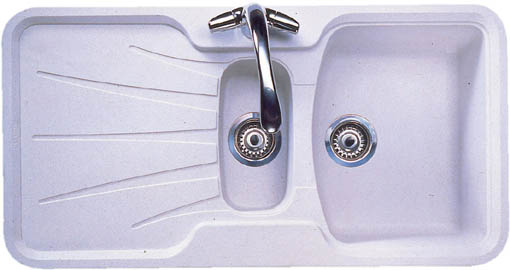 Korona 1 5 bowl granite rok opal white composite kitchen - Kitchen sink saying ...