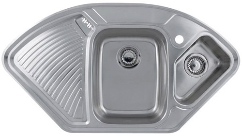 Additional Image For Lausanne Deluxe Stainless Steel Corner Kitchen Sink