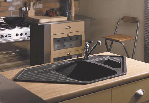 Vector 1 5 bowl black composite corner kitchen sink - Kitchen sink saying ...