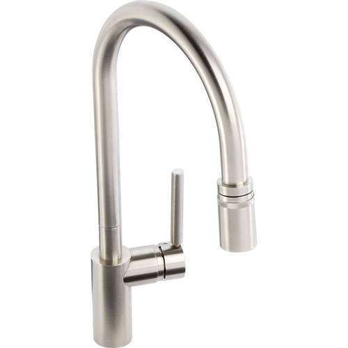 Additional image for Ratio Single Lever Pull Out Kitchen Tap (Brushed Nickel).