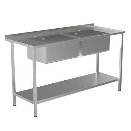 Additional image for Catering Sink With 2 Bowls & Legs 1500mm (Stainless Steel).