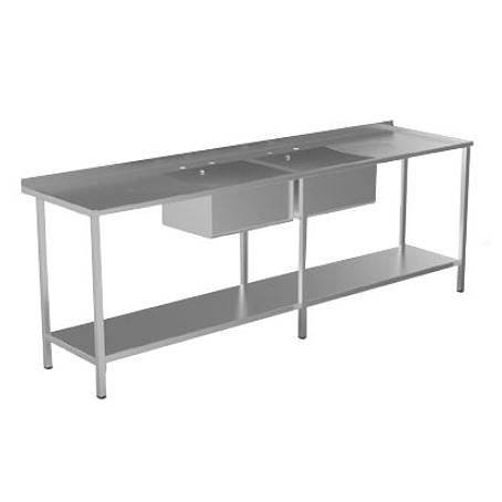 Additional image for Catering Sink, Double Drainer, 2 Bowls & Legs 2400mm.