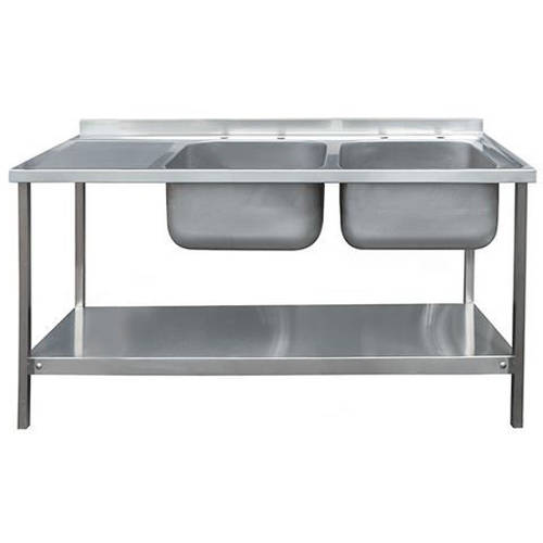 Additional image for Catering Double Sink With LH Drainer & Legs 1500mm (S Steel).