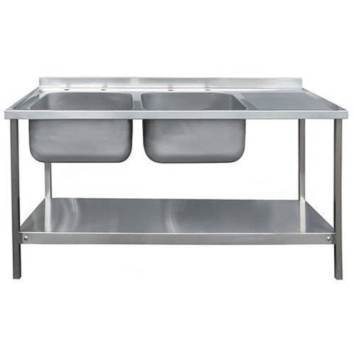 Additional image for Catering Double Sink With RH Drainer & Legs 1500mm (S Steel).