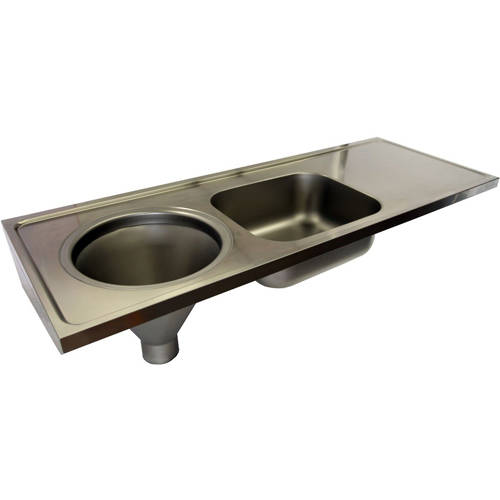 Additional image for Hospital Sluice Sink With Sink & Plain Top (LH, S Steel).