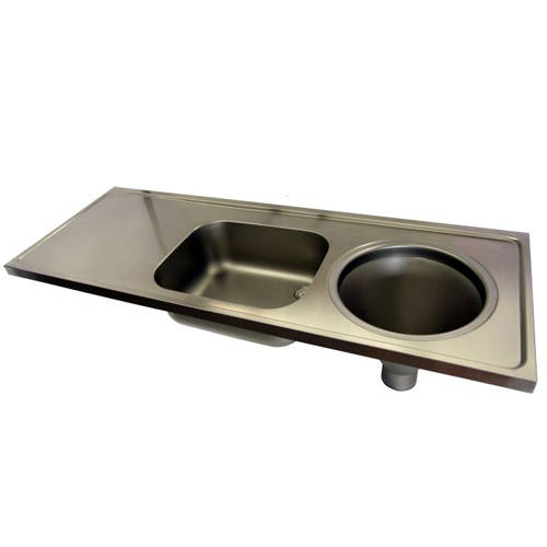 Additional image for Hospital Sluice Sink With Sink & Plain Top (RH, S Steel).