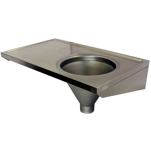 Additional image for Hospital Sluice Sink With Plain Top (RH, Stainless Steel).