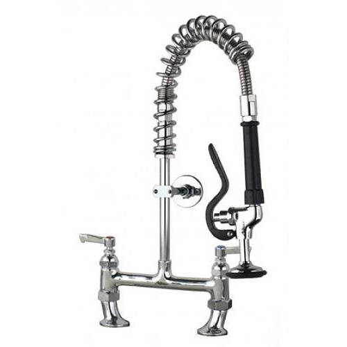 Additional image for Super Short Pre Rinse Twin Catering Tap (Chrome).