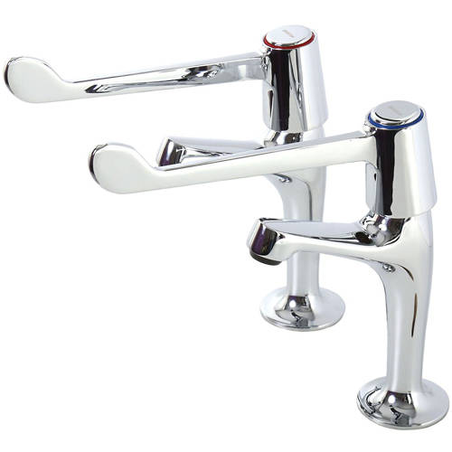 """Additional image for High Neck Basin Taps With 6"""" Lever Handles (Chrome)."""
