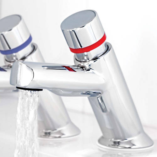 Additional image for Contemporary Self Closing Basin Taps (Pair, Chrome).