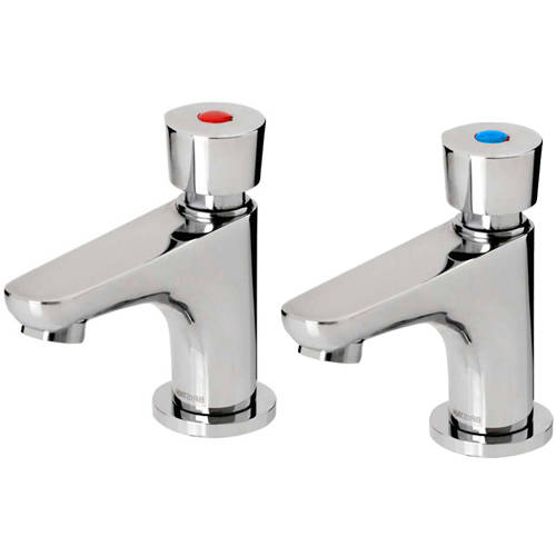 Additional image for Soft Touch Self Closing Basin Tap (Pair, Chrome).