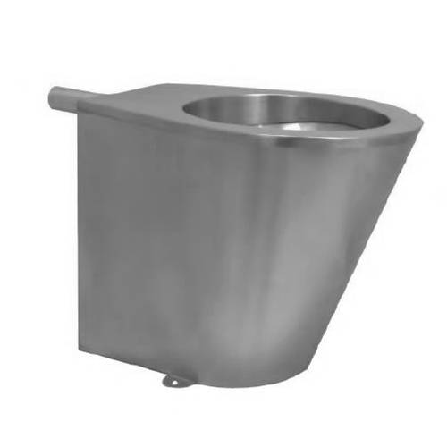 Additional image for Back To Wall Toilet Pan (Stainless Steel, P Trap).