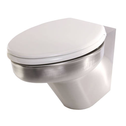Additional image for Back To Wall Toilet Pan (Stainless Steel).