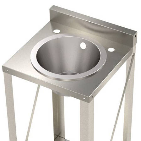 Additional image for Freestanding Wash Basin With Round Bowl (Stainless Steel).