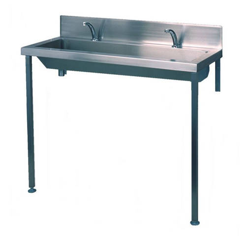 Additional image for Heavy Duty Wash Trough With Tap Ledge 2400mm (S Steel).