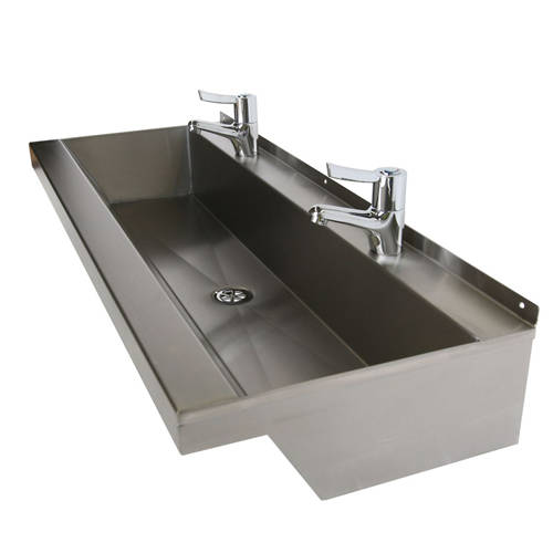Additional image for Wall Mounted Wash Trough 800mm (2 TH, S Steel).