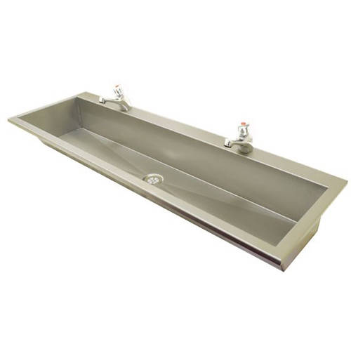 Additional image for Inset Wash Trough With Tap Ledge 1750mm (Stainless Steel).