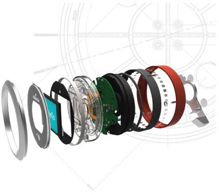 Additional image for Q Smart 16OR, Round Shower Head, Arm & Orange Acc (Gravity).