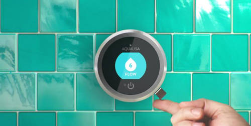 Additional image for Q Smart 16W, Round Shower Head, Arm & White Accent (Gravity).