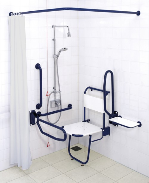 Additional image for Shower Pack With Blue Grab Rails.