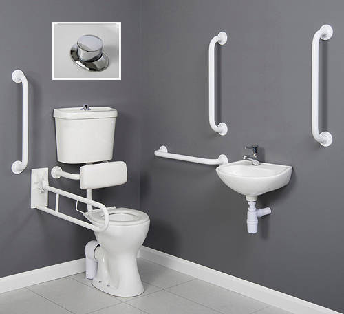 Additional image for Doc M Low Level Toilet Pack With Push Button Flush & White Rails.