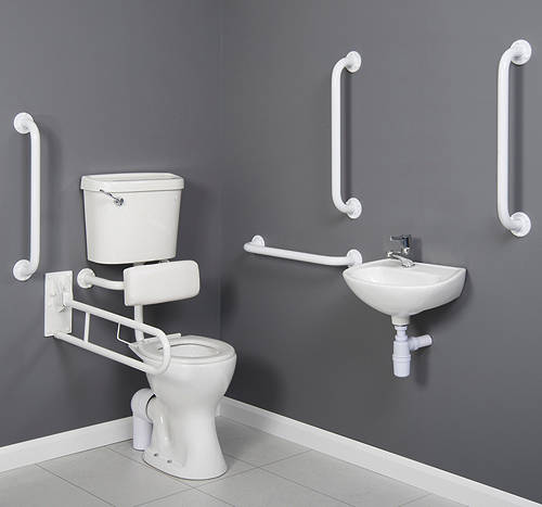 Additional image for Doc M Low Level Toilet Pack With Lever Flush & White Rails.
