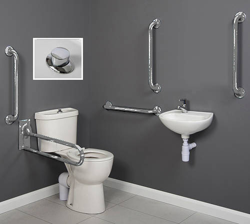Additional image for Doc M Close Coupled Pack, Push Flush & Stainless Steel Rails.