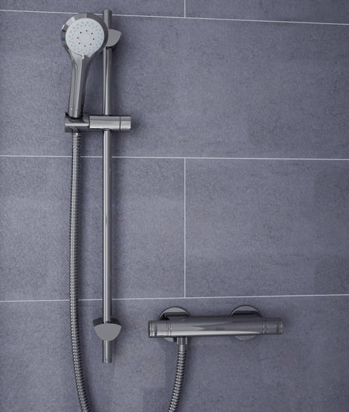 Additional image for Exposed Bar Shower Valve & Slide Rail Kit (Chrome).