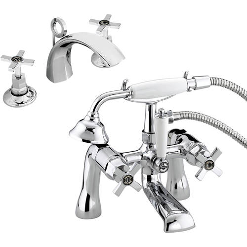 Additional image for 3 Hole Basin & BSM Taps Pack With Ceramic Disc Valves.