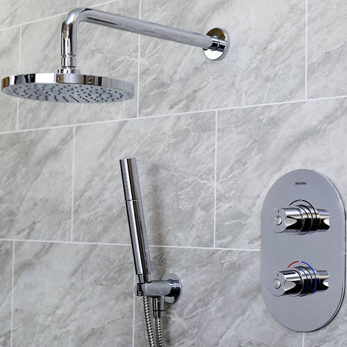 Additional image for Shower Pack With Arm, Round Head & Handset (Chrome).