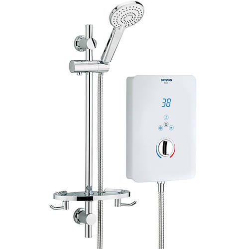 Additional image for Electric Shower With Digital Display 9.5kW (Gloss White).