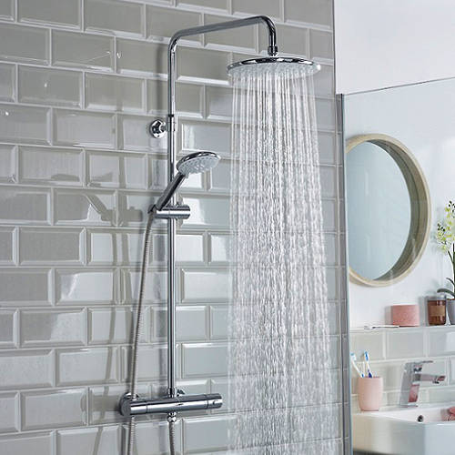 Additional image for Thermostatic Rigid Riser Kit With 2 Heads (Chrome).
