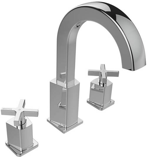 Additional image for 3 Hole Basin Mixer Tap With Clicker Waste (Chrome).
