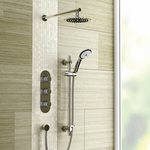 Additional image for Shower Pack With Arm, Round Head & Slide Rail (Chrome).