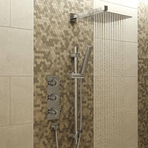 Additional image for Shower Pack With Arm, Square Head & Slide Rail (Chrome).