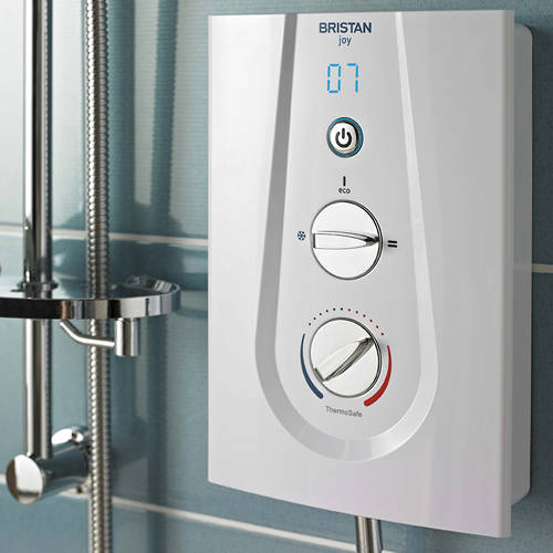 Additional image for Thermostatic Electric Shower With Digital Display 8.5kW (White).