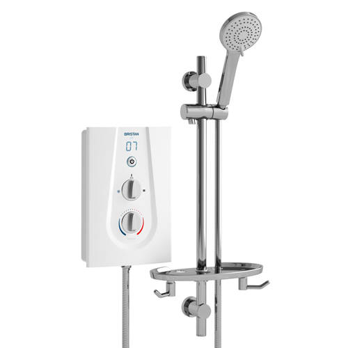 Additional image for Thermostatic Electric Shower With Digital Display 9.5kW (White).