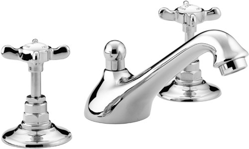 Additional image for Three Hole Basin Mixer Tap & Pop Up Waste, Chrome Plated. N3HBASCCD