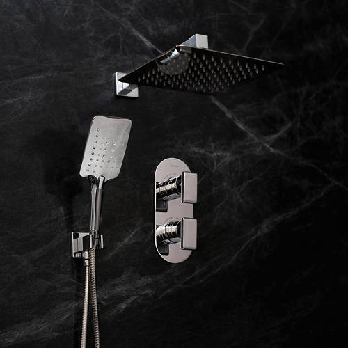 Additional image for Shower Pack With Arm, Square Head & Handset (Chrome).