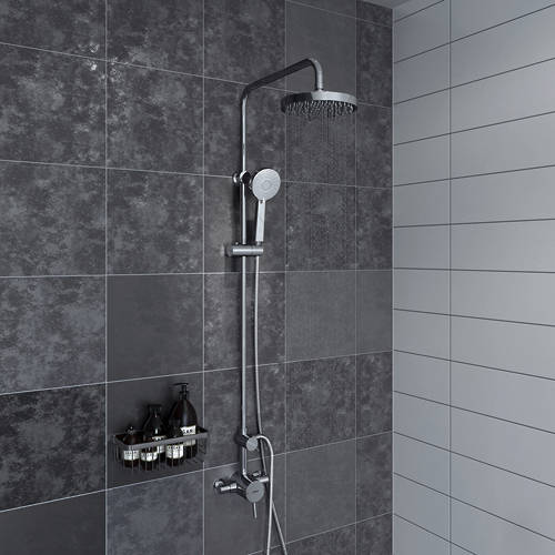 Additional image for Exposed Single Control Shower Valve With Rigid Riser (Chrome).