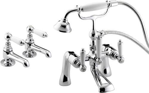 Bristan Renaissance Bath Shower Mixer basin & bath shower mixer taps pack (chrome). bristan renaissance b