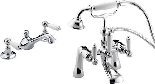 Bristan Renaissance Bath Shower Mixer 3 hole basin & bath shower mixer taps pack (chrome). bristan