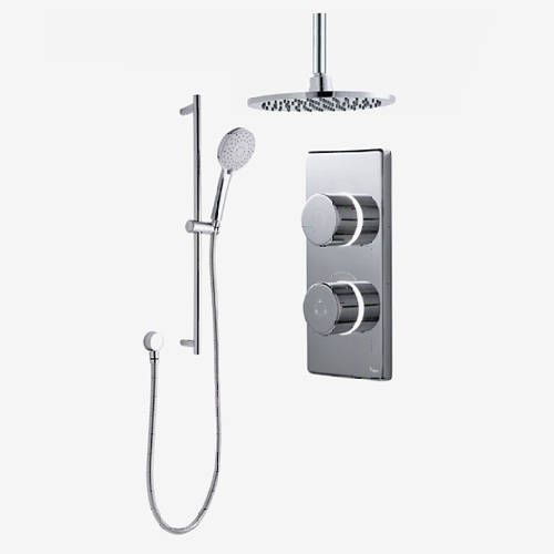 "Additional image for Twin Digital Shower Pack, Slide Rail & 8"" Round Head (HP)."