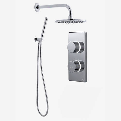 "Additional image for Twin Digital Shower Pack, 8"" Round Head & Kit (HP)."