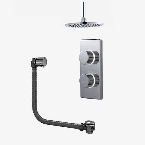 "Additional image for Twin Digital Shower Pack, Bath Filler & 8"" Round Head (HP)."