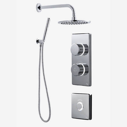 Additional image for Twin Digital Shower Pack, Round Head, Remote & Kit (LP).