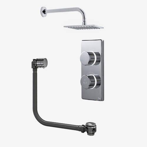 "Additional image for Twin Digital Shower Pack, Bath Filler & 8"" Square Head (LP)."