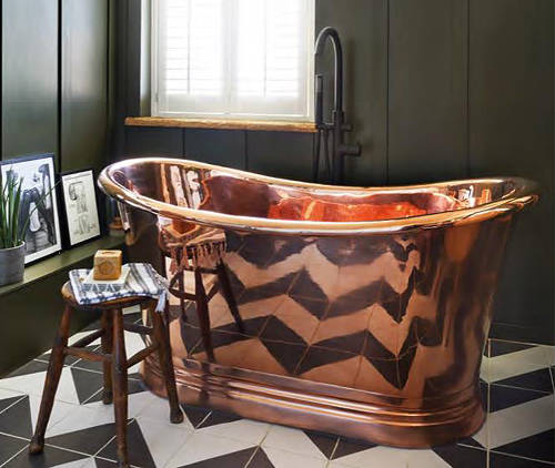 Additional image for Copper Boat Bath 1700mm (Copper Inner/Copper Outer).