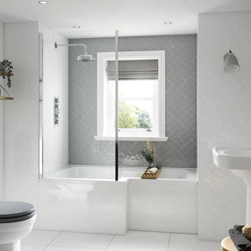Additional image for SolidBlue L-Shaped Shower Bath With Panel & Screen 1500 (LH).