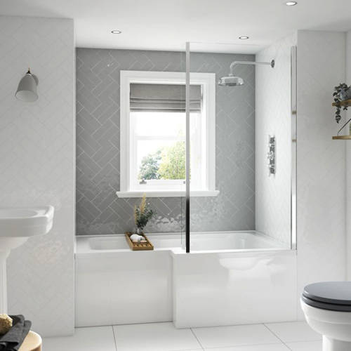 Additional image for SolidBlue L-Shaped Shower Bath With Panel & Screen 1500 (RH).